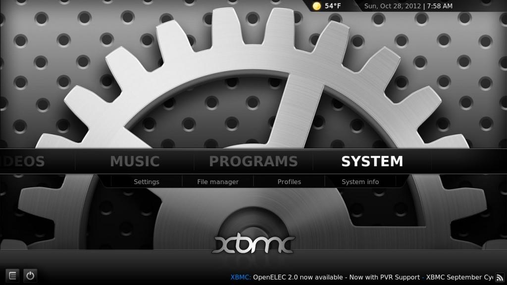XBMC screen shot 2