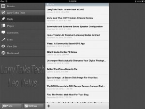 "WordPress for iOS ""Posts"" page"